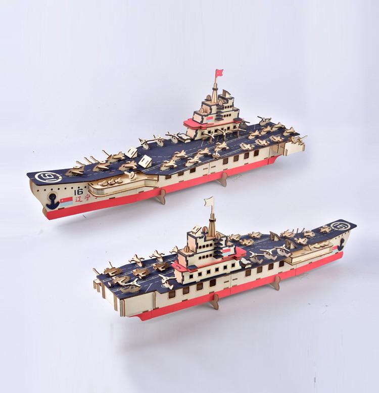 Đồ chơi lắp ráp gỗ 3D Mô hình Tàu sân bay Aircraft Carrier Laser XA-G035H
