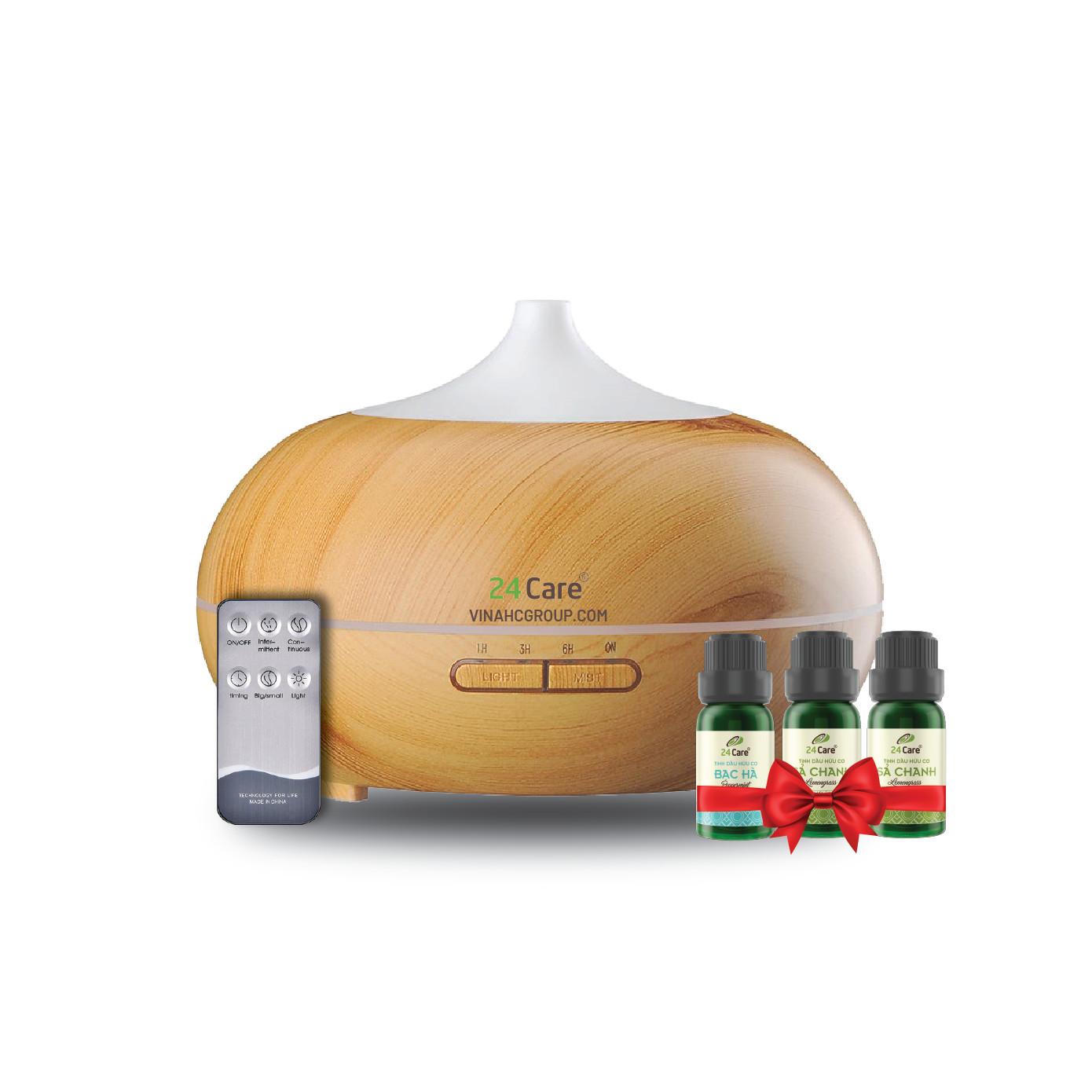 Máy khuếch tán Tinh dầu 24Care Bí Ngô Vàng Ultrasonic 500ML, Tặng 2 chai Tinh dầu Sả Chanh + 1 chai Bạc Hà 24Care 10ml  Xông Phòng  Kèm Remote điều khiển  Công nghệ siêu âm.