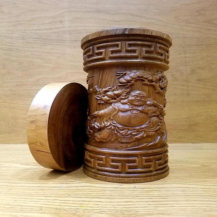 Hộp đựng trà hộp đựng chè đục phật di lặc gỗ bách xanh thơm