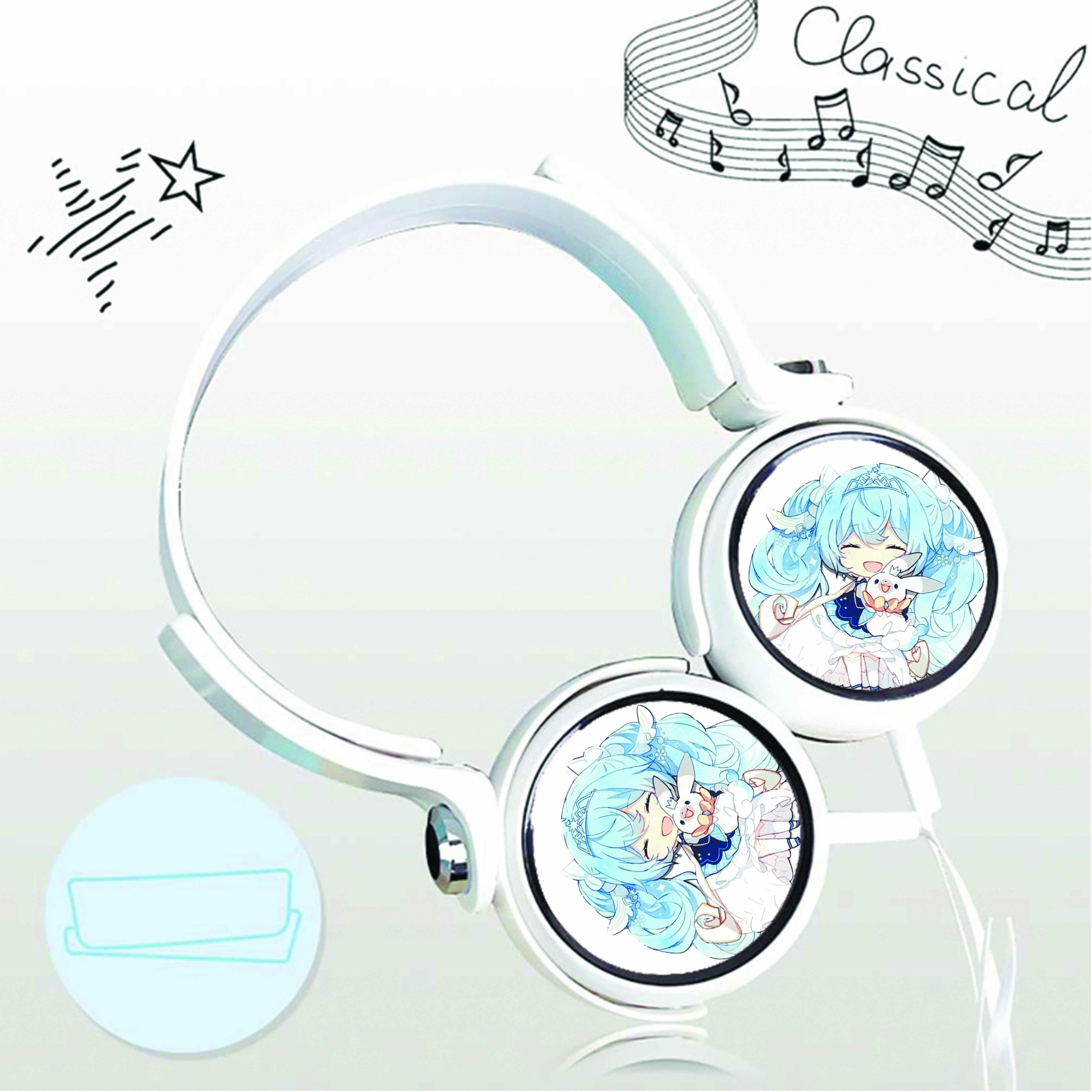 Tai nghe chụp in hình Snow Hatsune Miku chibi cắm dây có mic
