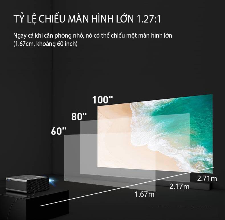 (Hỗ Trợ Tiếng Việt) Máy Chiếu Mini Siêu Nét Kết Nối Bluetooth Wifi Chạy Hệ Điều Hành Android RD- 825/K0 Cao Cấp