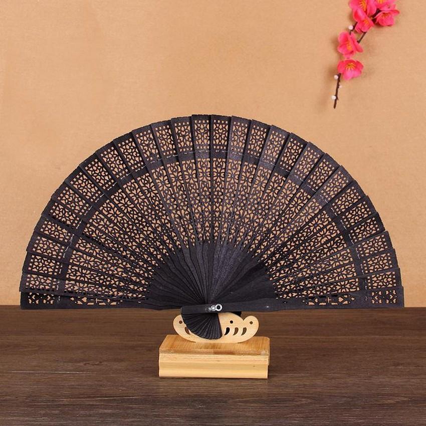 Quạt nan trúc xếp cầm tay nhiều màu phong cách Trung Quốc in hoa trang trí cosplay tặng thẻ Vcone