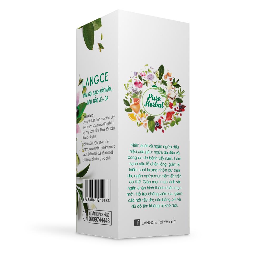 Tắm Gội Dược Liệu Sạch Vẩy Nấm, Gàu, Bảo Vệ+ Da Ngừa Mụn Lưng 250ml TẶNG Kem Làm Rụng Lông Trắng Da 20ml LANGCE
