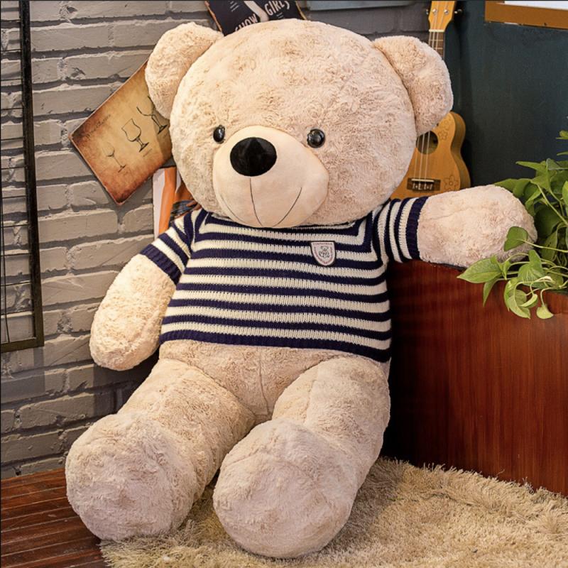 Gấu bông gấu Teddy mặc áo len kẻ sọc đen cao cấp 75cm màu Coffee