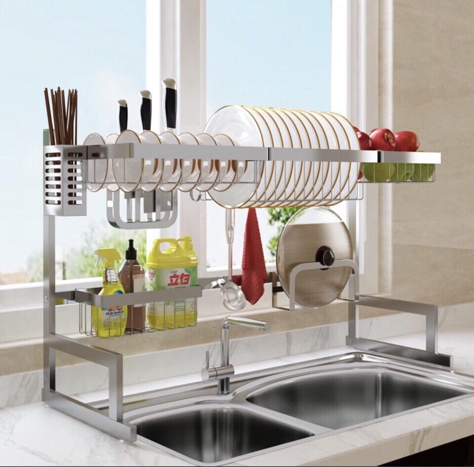 Giá kệ đa nhà bếp 6 trong 1 inox chuẩn 304 không han gỉ CHINOX - kích thước ngang 85cm
