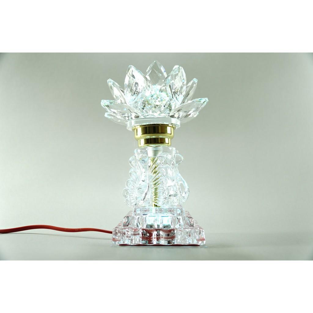 Đèn thờ cúng điện pha lê nguyên khối hoa sen đèn thờ led đổi màu trụ vuông tầng cao cấp - Cao 20cm