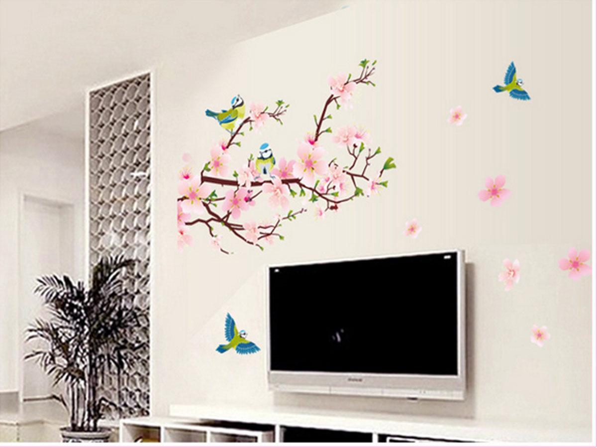 decal dán tường hoa đào chim xanh ay9189