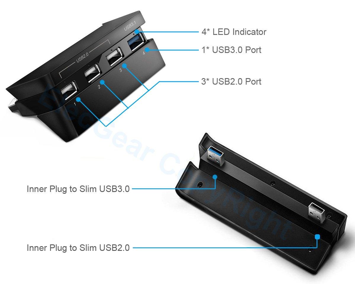 Hub 4 cổng usb (3 x USB 2.0, 1 x USB 3.0) Slim PS4 Dobe - Hàng nhập khẩu
