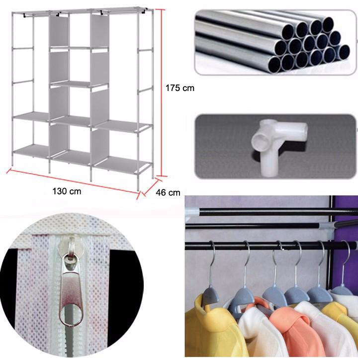 Tủ vải quần áo 1 buồng 3D (màu ngẫu nhiên), Tặng kèm gương mini cầm tay tiện dụng