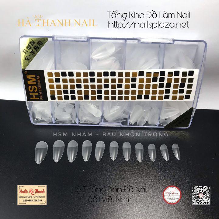 Móng Úp HSM Nhám Sẵn, Hộp 500 Móng Đủ Size Phom Bầu Nhọn, Hạt Dẻ