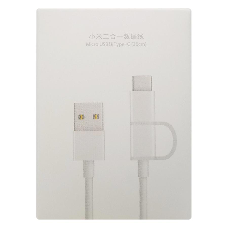 Dây Cáp Sạc Đa Năng 2 Trong 1 USB Type-C / Micro USB Xiaomi (0.3m) - Hàng Chính Hãng