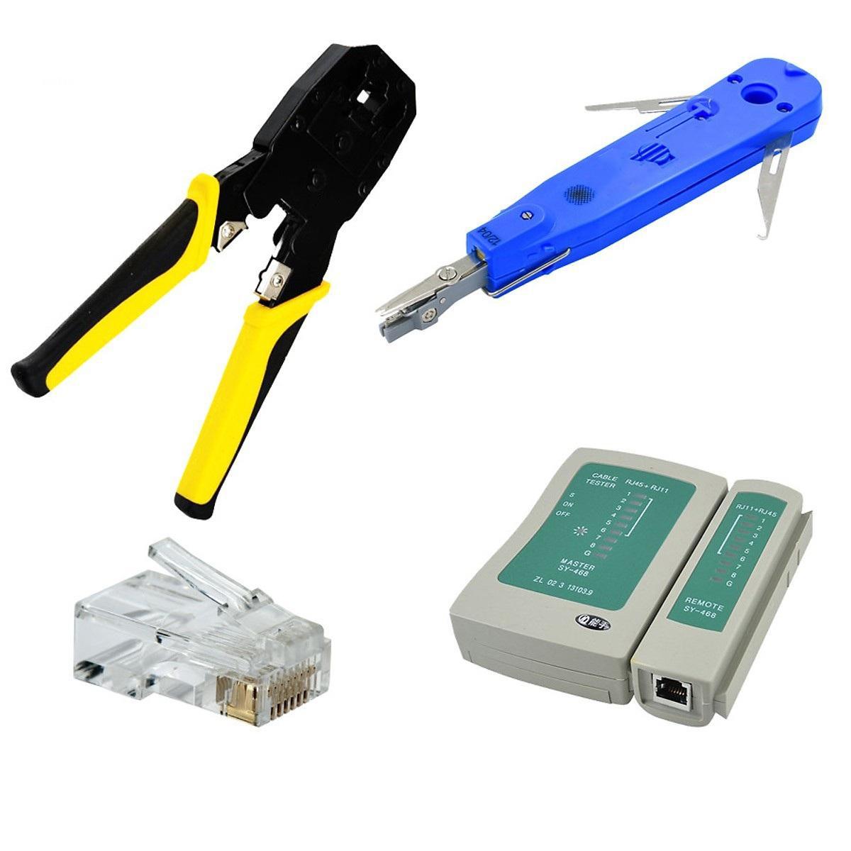 Bộ sản phẩm thi công hệ thống mạng Kìm bấm mạng, Tool nhấn mạng âm tường, Hộp test dây mạng, 100 Hạt mạng JR45