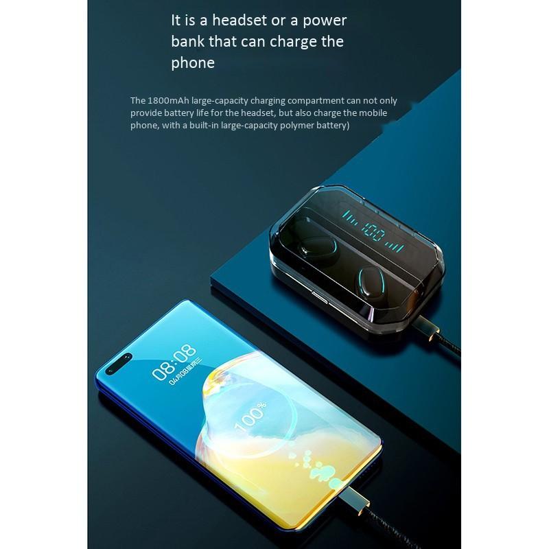Tai nghe bluetooth không dây A88 (1800 mAh) True wireless Dock sạc có Led báo hiển thị thời lượng pin - Sử dụng làm pin dự phòng cho các thiết bị di động