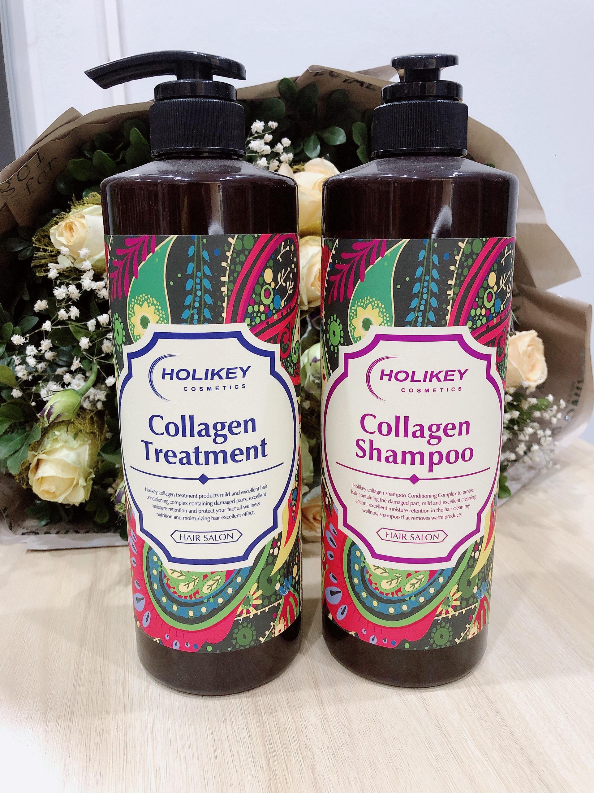 Cặp dầu gội, xả bóng mượt, sạch gầu và ngăn ngừa rụng tóc Holikey Collagen 750ml - Hàn Quốc Chính Hãng