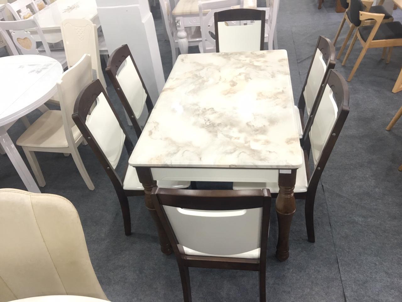 Bàn ăn mặt đá nhập khẩu TD1864 6 ghế 1M3 cho chung cư