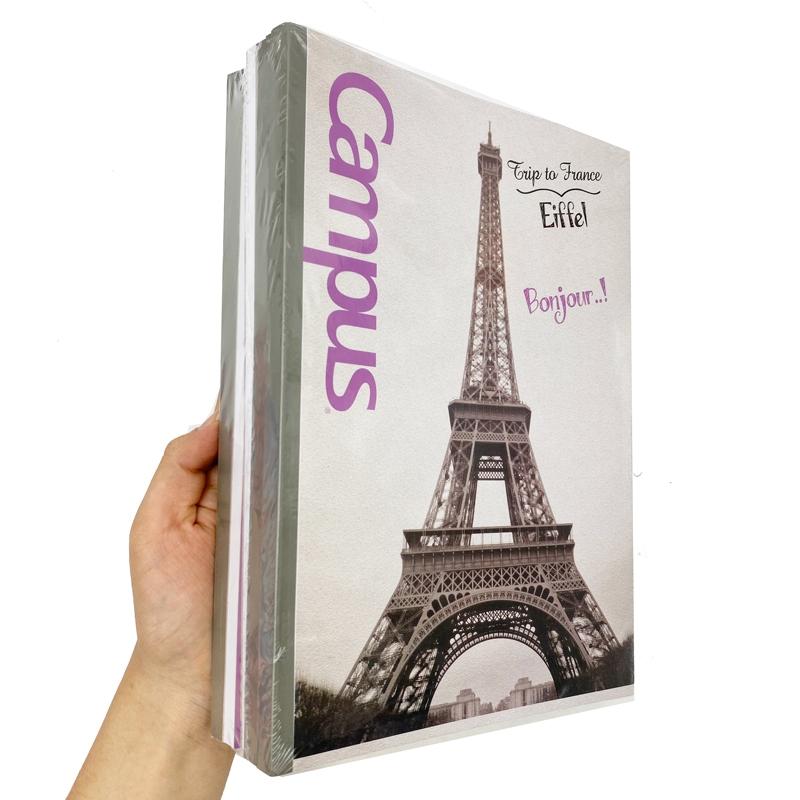 Bộ 5 Vở Campus B5 Kẻ Ngang 200 Trang Landscape - Eiffel