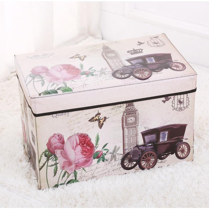 Ghế hộp dài mẫu vintage 48x30x30cm CỖ XE A11