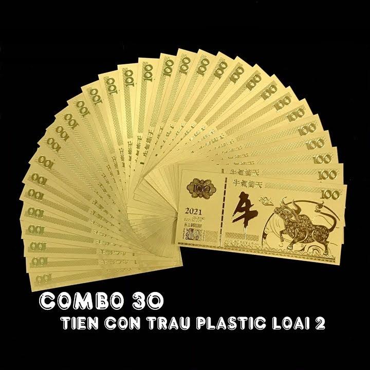 Combo 30 tờ lưu niệm 100 hình con Trâu màu vàng, chất liệu nhựa plastic (loại 1), dùng để trang trí trong nhà