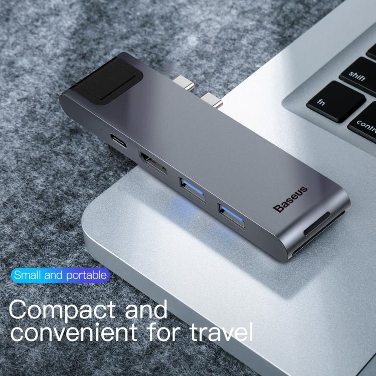 Bộ hub chuyển đổi Baseus CAHUB-L0G Thunderbolt C + Pro 7 trong 1 HDMI + SD + Micro SD + USB 3.0 x 2 + RJ45 + PD to USB-C / Type-C Smart HUB Docking Station - Hàng chính hãng