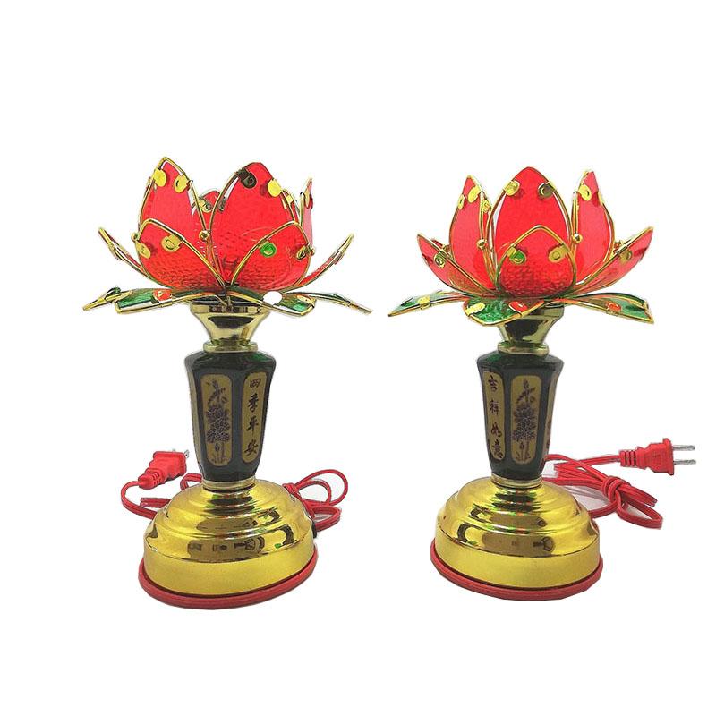 Bộ 2 Đèn thờ hoa sen đỏ thân đen VDT-211