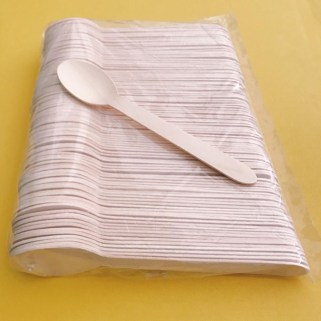 MUỖNG (THÌA) GỖ dài 15.5cm, dùng 1 lần - COMBO 100 cái