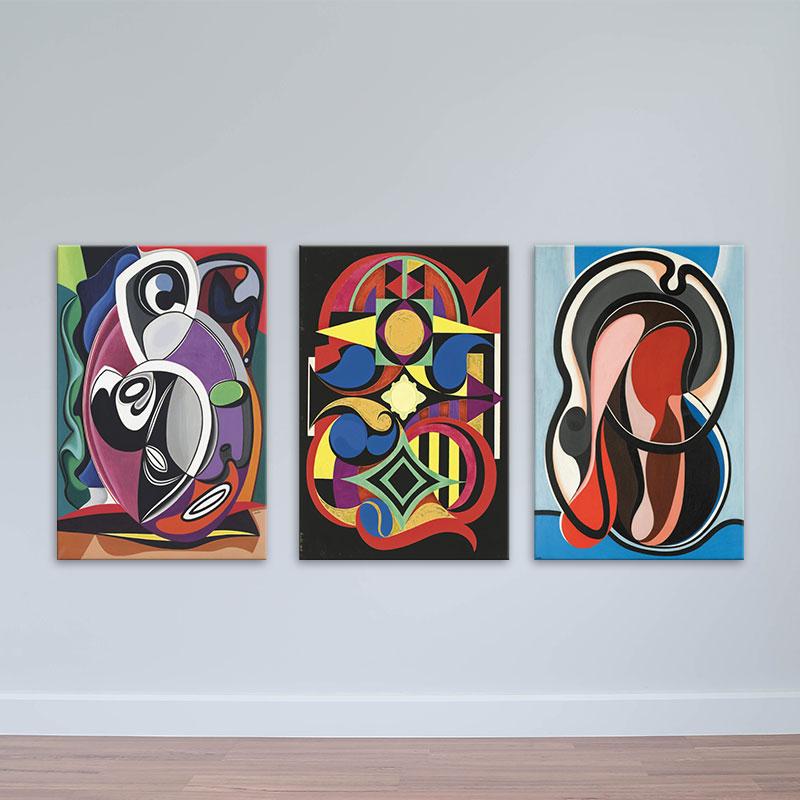 Bộ 3 tranh treo tường trừu tượng | Tranh in phong cách sơn dầu W1780