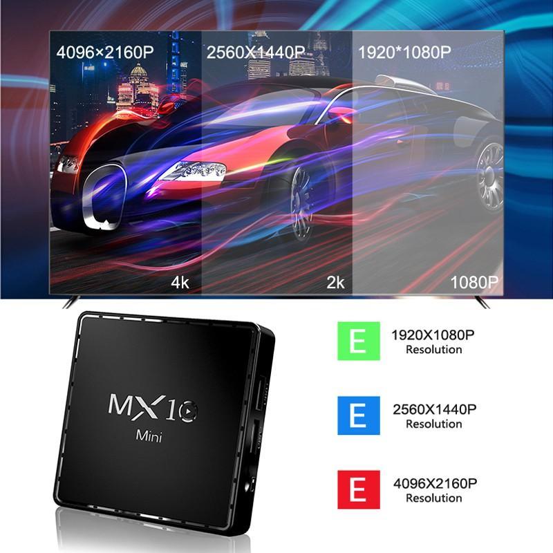 Android TV Box Ram 2G, bộ nhớ 16G, Android 10.0, xem video 4K, hỗ trợ giọng nói, xem nhiều kênh truyền hình MX10MINI