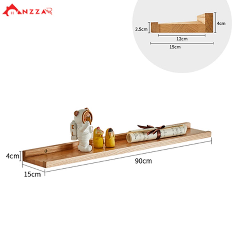 Kệ gỗ treo tường, kệ trang trí Anzzar, decor phòng ngủ, phòng khách, giá gỗ treo tường