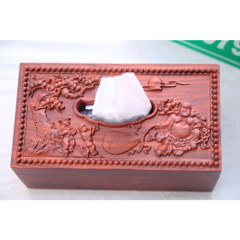 Hộp đựng giấy ăn cao cấp bằng gỗ Cẩm lai ta 100% trạm Phật Di lặc