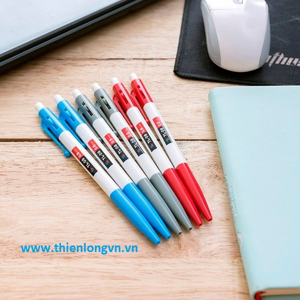 Combo 5 bút bi bấm Thiên Long TL08 màu xanh