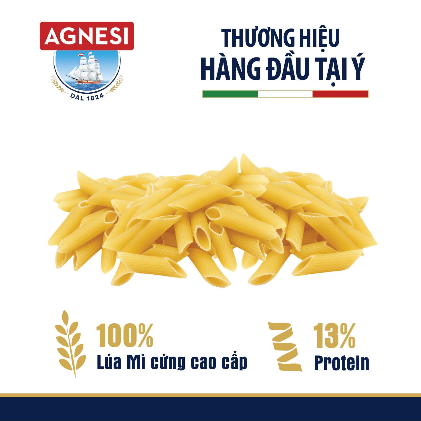 Nui ống Penne Rigate N.19 Agnesi 500g, làm từ lúa mì cứng cao cấp Semolina, luộc 10 phút, nhập khẩu Ý