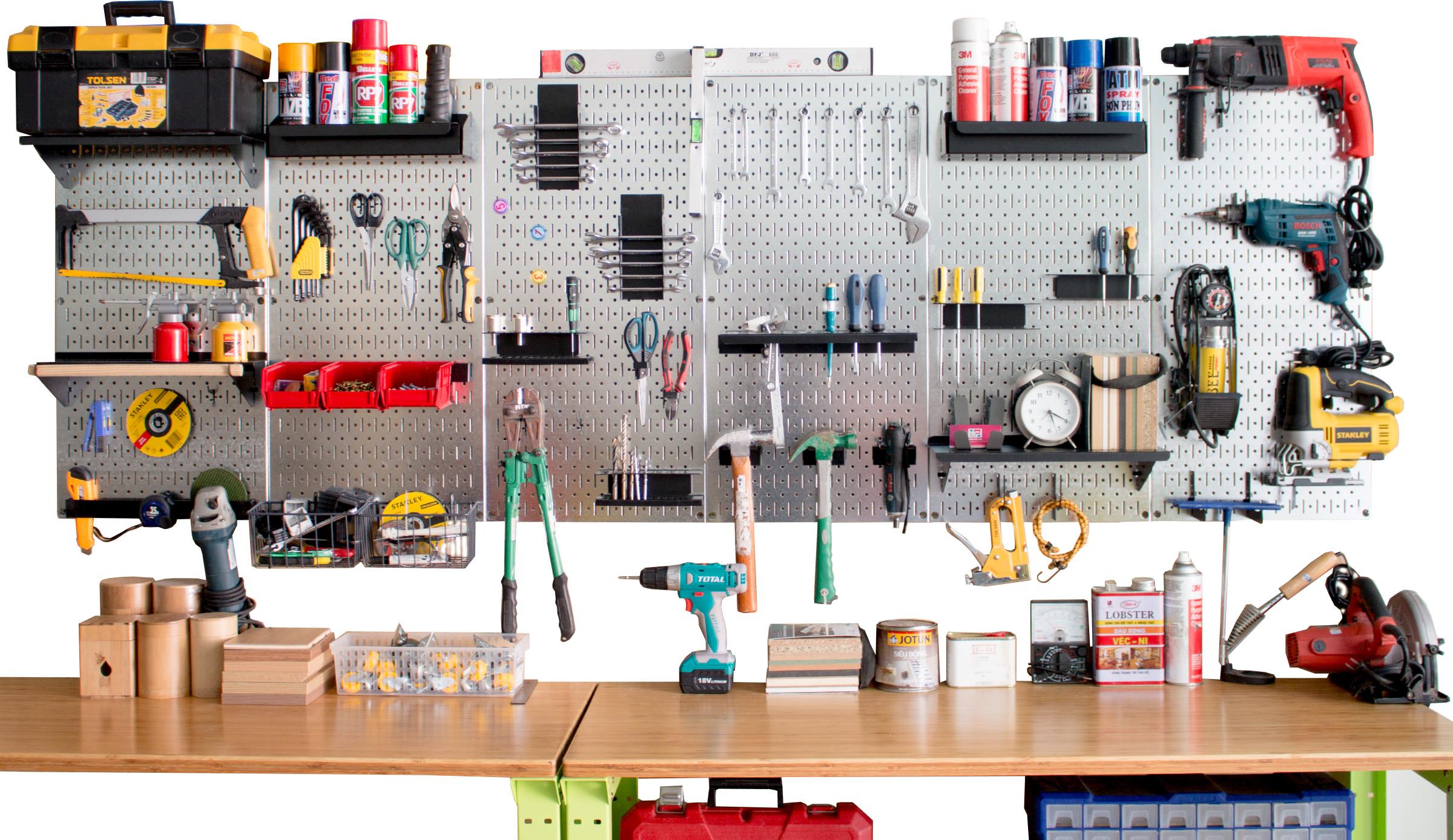Khay đựng Pegboard - Giá treo bằng thép sơn tĩnh điện - Phụ kiện cho bảng treo dụng cụ cơ khí