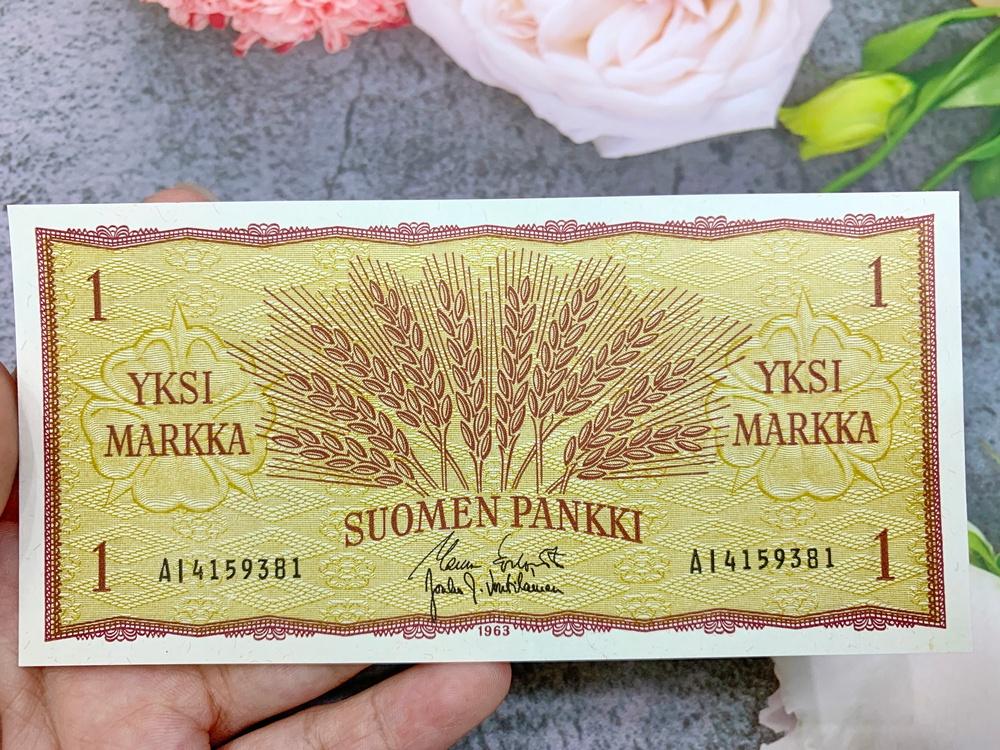 Tiền cổ Phần Lan 1 Markkaa sưu tầm, quốc gia Bắc Âu, mới 100% UNC, tặng túi nilon bảo quản