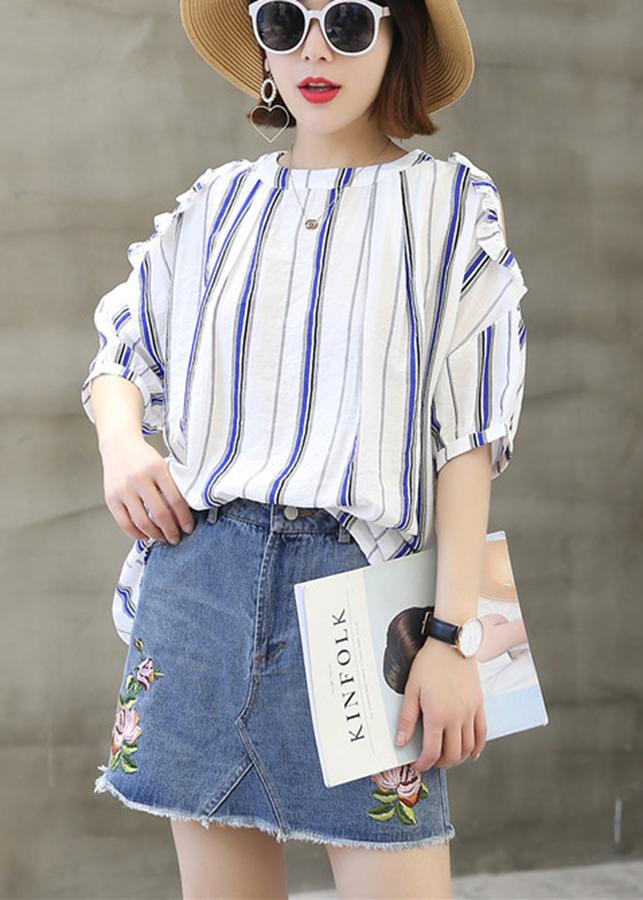 Sơ mi nữ kẻ sọc cổ tròn hở vai ArcticHunter, vải thô mềm mát thích hợp mùa hè, thời trang trẻ, thương hiệu chính hãng