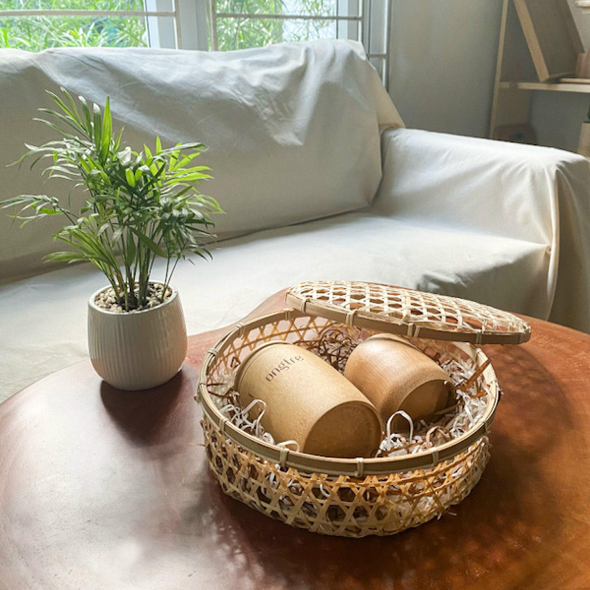 Hộp tre đan thủ công đa năng hình tròn đựng quà, vật dụng nhỏ...   ongtre (Vietnam)