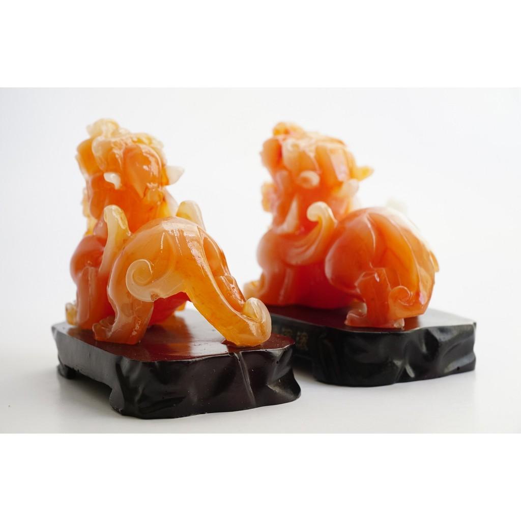 Cặp tượng Tỳ Hưu Đỏ phong thủy may mắn - Cao 10cm