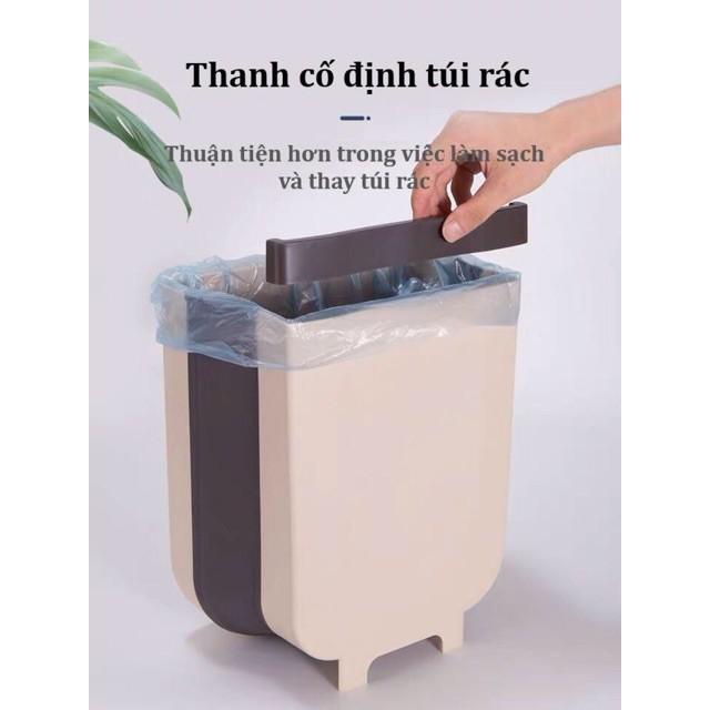 Thùng đựng rác đa năng gấp gọn cao cấp tặng 2 khăn lau bếp