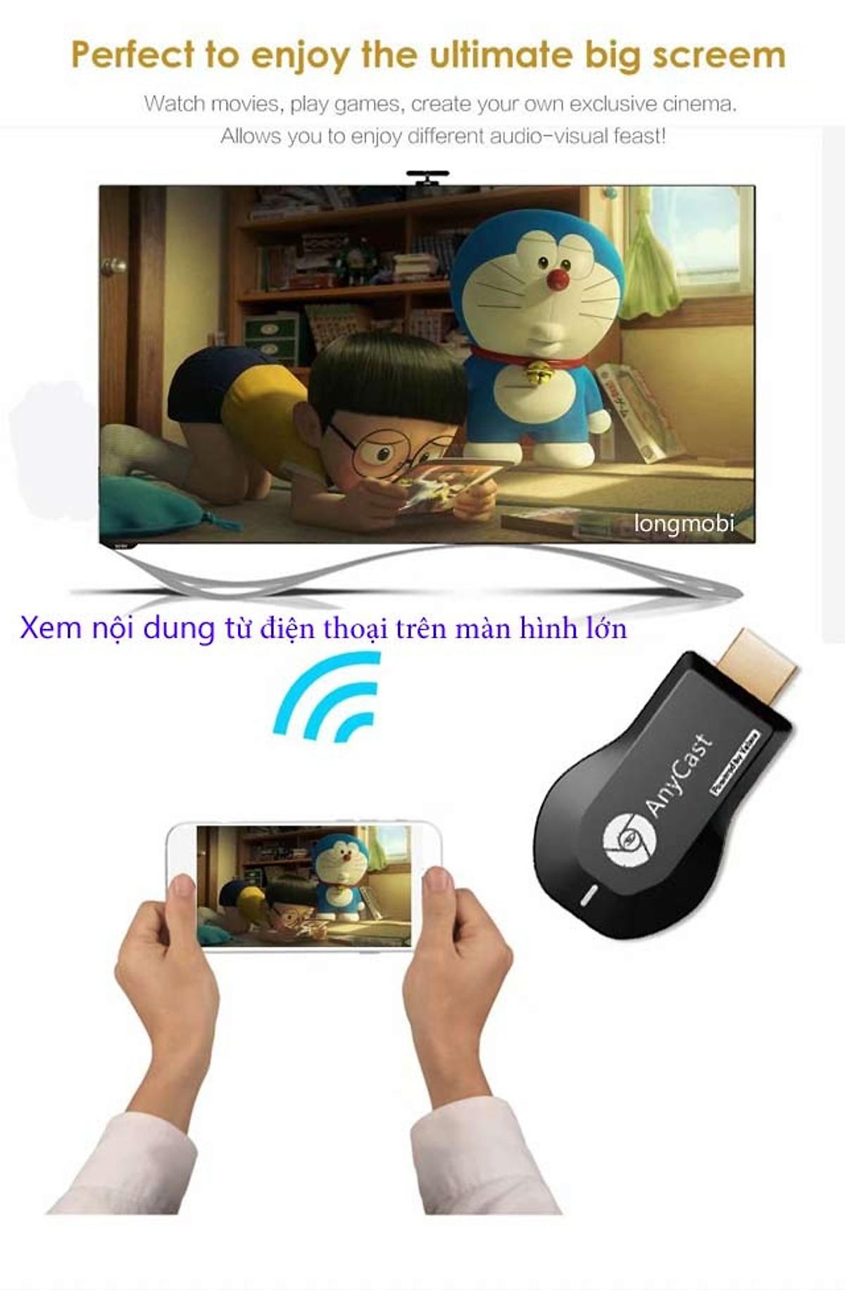 Bộ chuyển đổi không dây từ điện thoại lên tivi Anycast M9 Plus - Hàng Nhập Khẩu