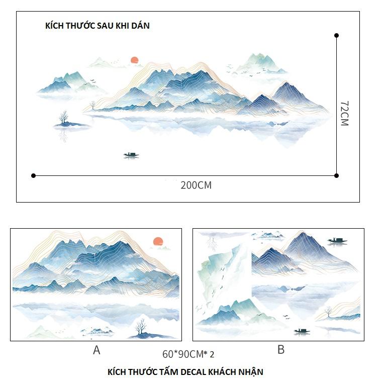Decal dán tường tranh thủy mặc Sông núi bao la size lớn DKN149 (72 x 200 cm)