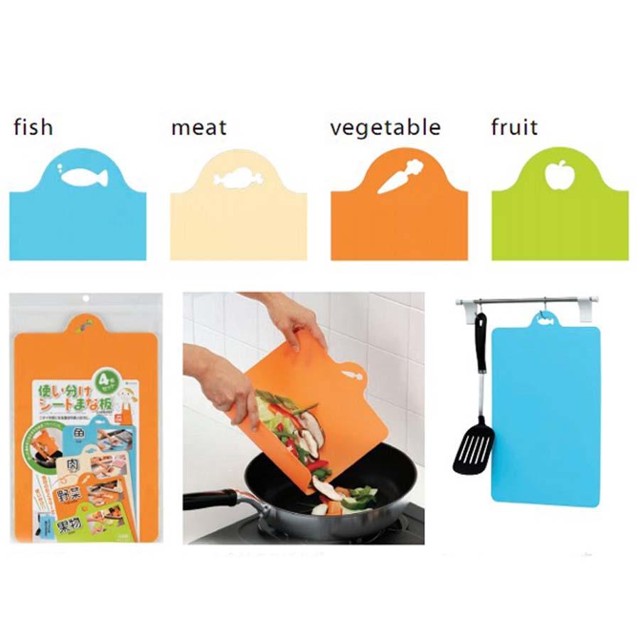 Bộ 2 thớt nhựa dẻo dùng để thái thực phẩm sống, chín - Hàng Nội Địa Nhật