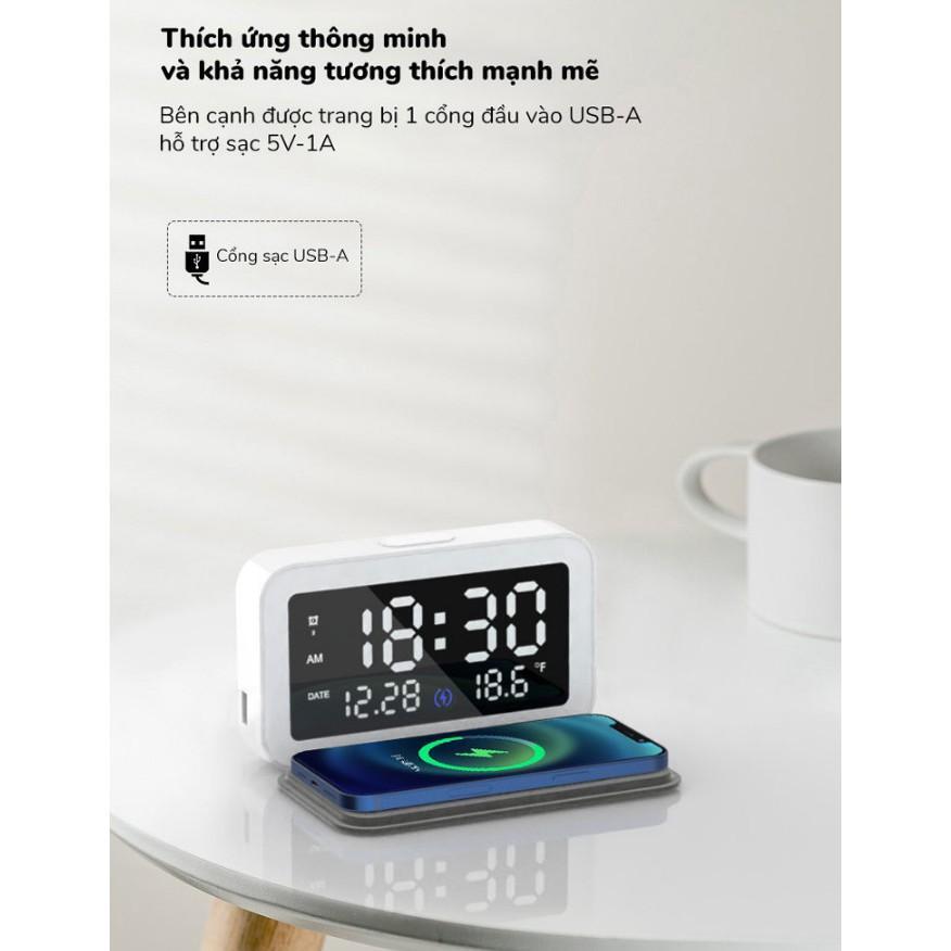 Đồng hồ để bàn kiêm đế sạc không dây