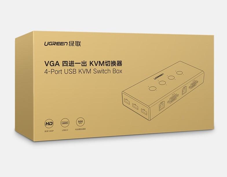 Bộ chuyển tín hiệu 2 CPU dùng 1 màn hình KVM Switch USB Ugreen 50280 - Hàng Chính Hãng
