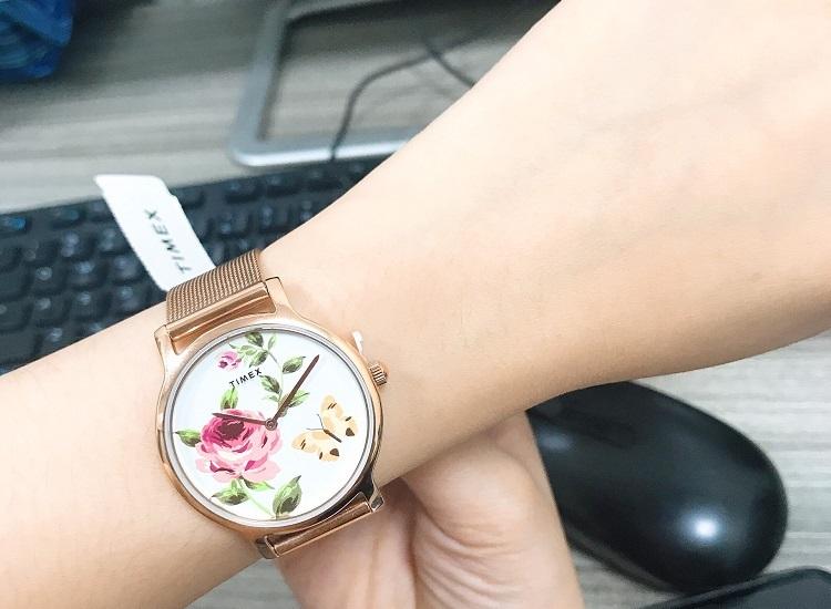 Đồng hồ Timex Full Bloom Steel Gold Rose White TW2U19100