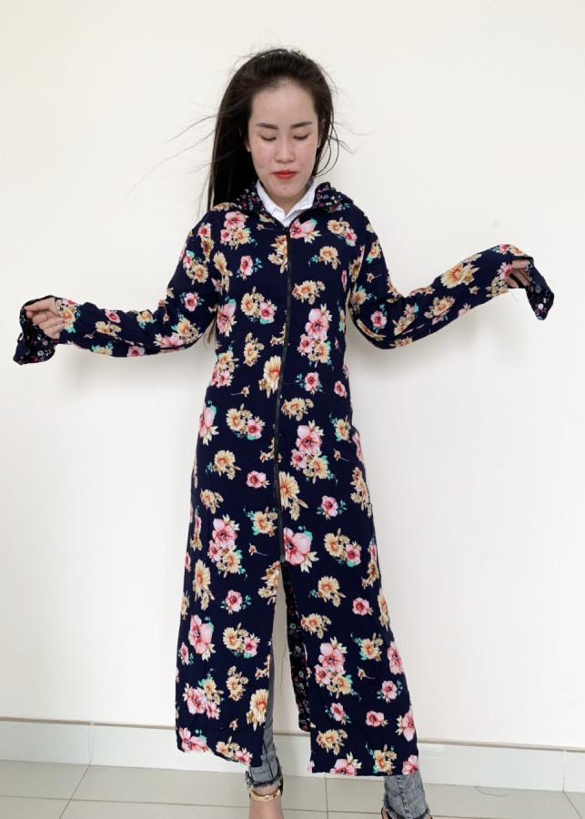 Áo khoác chống nắng toàn thân 2 lớp họa tiết vải tôn kèm khẩu trang màu ngẫu nhiên