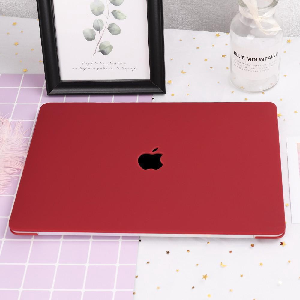 Combo ốp +phủ phím Macbook đỏ đô (Tặng kèm nút chống bụi và bộ chống gãy sạc)