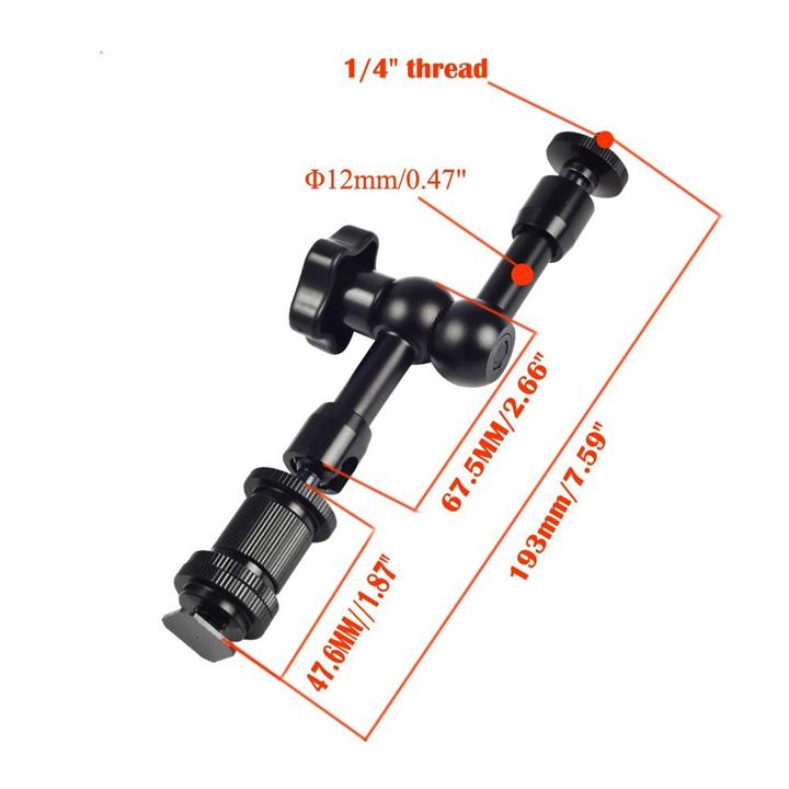 Magic arm khớp tay nối đa năng 7 inch và kẹp càng ghi đông kim loại