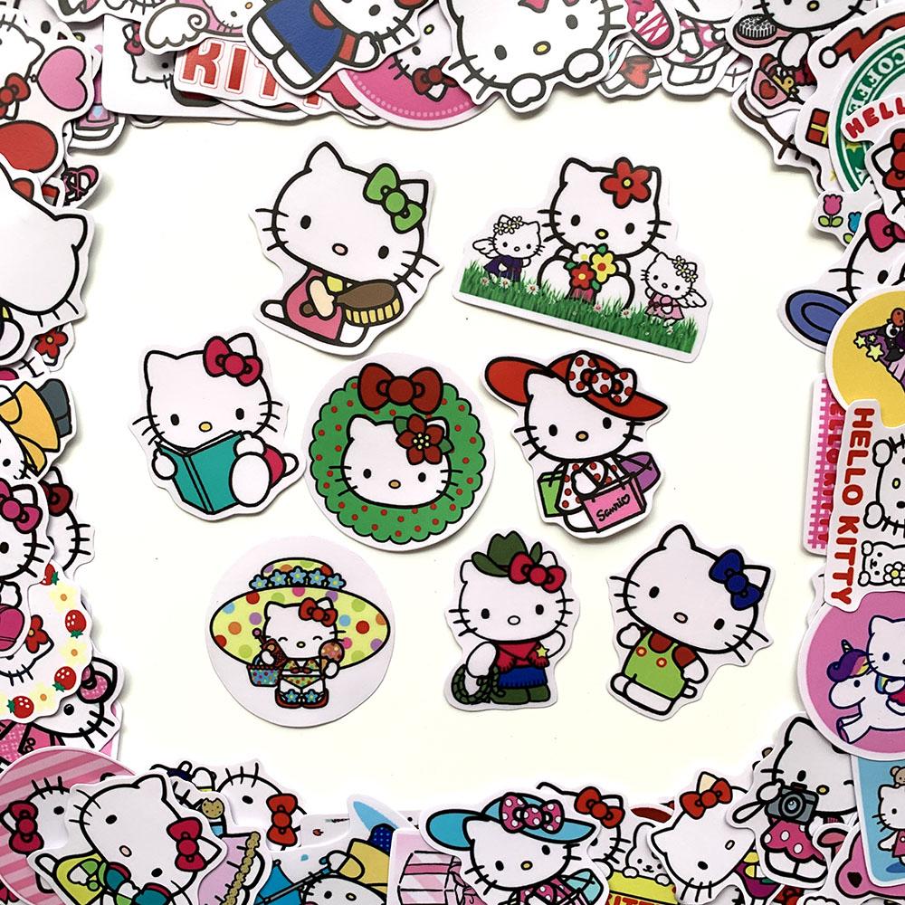 Bộ 50 Sticker Mèo Hello Kitty Hình Dán Decal Chất Lượng Cao Chống Nước Chủ Đề Dễ Thương Cute