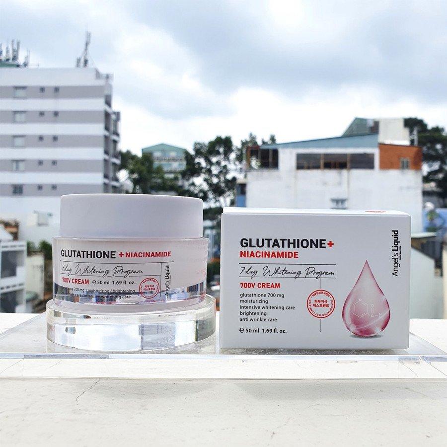 Kem dưỡng giảm nám truyền trắng Angel's Liquid Glutathione Plus Niacinamide 700 V Cream 50ml +Tặng kèm 1 băng đô tai mèo (màu ngẫu nhiên)