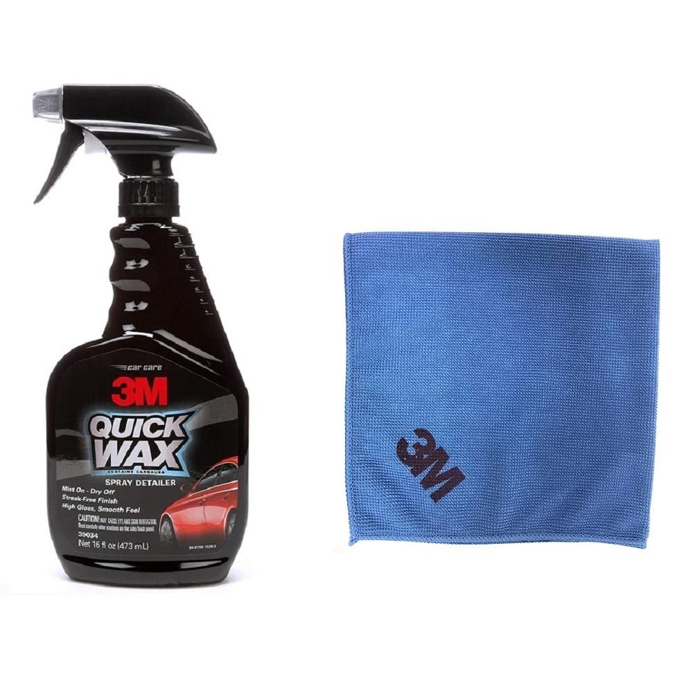 Chai xịt tăng độ bóng sơn ô tô 3M 39034 (Hàng Mỹ) tặng kèm khăn lau ô tô chuyên dụng 3M màu ngẫu nhiên