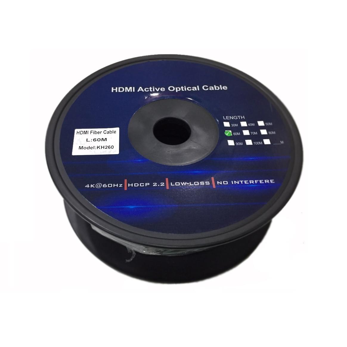 CÁP HDMI Kingmaster 2.0 ( 60m) Active Optical KH 260,CÁP HDMI 60M CHUẨN 2.0 CÁP QUANG-HÀNG CHÍNH HÃNG